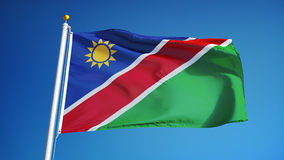 Namibia flag in slow motion seamlessly looped with alpha
