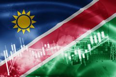 Namibia flag, stock market, exchange economy and Trade, oil production, container ship in export and import business and logistics. Africa, background, banner royalty free illustration
