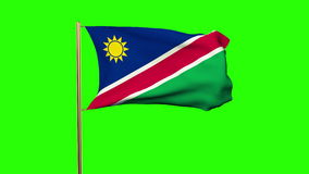 Namibia flag waving in the wind. Green screen stock video footage
