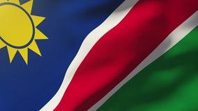 Namibia flag waving in the wind. Looping sun rises stock video footage
