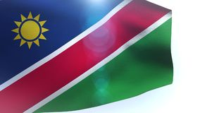 Namibia flag waving in the wind wave stock footage