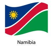 Namibia flaga Krajowy patriotyczny symbol w oficjalnych krajów kolorach Ilustracja macha flaga Afryka stan ilustracji