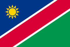 Namibia flat flag. Namibia flag. National current flag, government and geography emblem. Flat style vector illustration Stock Photo