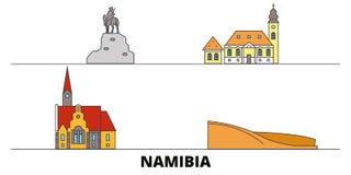 Namibia flat landmarks vector illustration. Namibia line city with famous travel sights, skyline, design. Namibia flat landmarks vector illustration. Namibia stock illustration