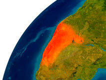 Namibia on globe Royalty Free Stock Photo