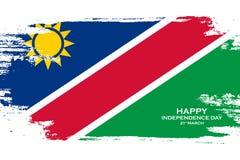 Namibia Happy Independence Day celebration card. Brush stroke holiday background. Namibia Happy Independence Day celebration card. Brush stroke holiday Stock Image