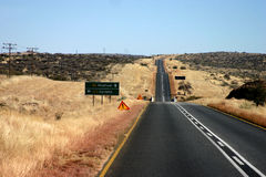 Namibia Highway. A shot of the highway in Namibia Stock Photo