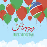 Namibia Independence Day Flat Greeting Card. Flying Rubber Balloons in Colors of the Namibian Flag. Happy National Day Vector Illustration Royalty Free Stock Image