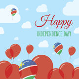 Namibia Independence Day Flat Patriotic Design. Namibian Flag Balloons. Happy National Day Vector Card Royalty Free Stock Images