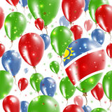 Namibia Independence Day Seamless Pattern. Flying Rubber Balloons in Colors of the Namibian Flag. Happy Namibia Day Patriotic Card with Balloons, Stars and Royalty Free Stock Image