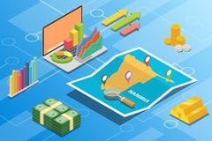 Namibia isometric financial economy condition concept for describe country growth expand - vector. Illustration stock illustration