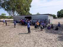 NAMIBIA, Kavango, OCTOBER 15: Namibian school children waiting for a lunch. Kavango was the region with the Highest povert Stock Photo