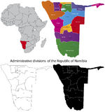 Namibia map. Administrative division of the Republic of Namibia Stock Photos