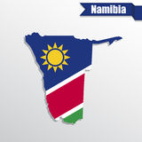Namibia map with flag inside and ribbon Royalty Free Stock Image