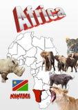 Namibia mapa z flaga i zwierzętami Zdjęcia Royalty Free