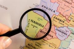Namibia na mapie świat zdjęcia royalty free