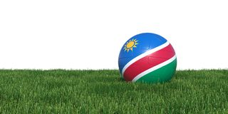 Namibia Namibian flag soccer ball lying in grass world cup 2018. Isolated on white background. 3D Rendering, Illustration Stock Photography