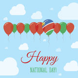 Namibia National Day Flat Patriotic Poster. Row of Balloons in Colors of the Namibian flag. Happy National Day Card with Flags, Balloons, Clouds and Sky Royalty Free Stock Photography