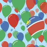 Namibia National Day Flat Seamless Pattern. Flying Celebration Balloons in Colors of Namibian Flag. Happy Independence Day Background with Flags and Balloons Stock Photo