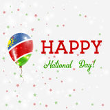 Namibia National Day patriotic poster. Flying Rubber Balloon in Colors of the Namibian Flag. Namibia National Day background with Balloon, Confetti, Stars Stock Image