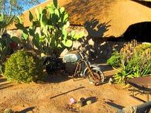 Namibia patiens, bruten moped i öken royaltyfri fotografi