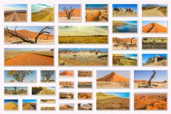 Namibia pictures collage Royalty Free Stock Photos