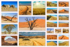 Namibia pictures collage Royalty Free Stock Image