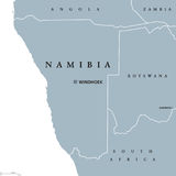 Namibia political map. With capital Windhoek. Republic and country in Southern Africa on Atlantic Ocean. Former German South-West Africa. Gray illustration on Stock Photos