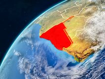 Namibia on Earth with borders. Namibia on realistic model of planet Earth with country borders and very detailed planet surface and clouds. 3D illustration royalty free stock photo