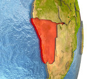Namibia in red on Earth Stock Photography