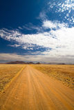 Namibia road. A long scenic gravel road in Namibia Royalty Free Stock Photography