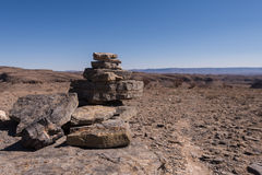 Namibia Rock Cairns. Rock Cairns along desert hiking trail, Namibia Stock Photo