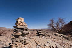 Namibia Rock Cairns. Rock Cairns along desert hiking trail, Namibia royalty free stock photo