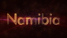 Namibia - Shiny looping country name text animation stock images