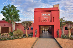 Namibia, travel Africa. SOSSUSVLEI, NAMIBIA - JAN 30, 2016: Entrance in the Sossusvlei Lodge, the most popular place in Namib-Naukluft national park to stay and Stock Photography