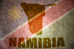Namibia vintage map. Namibia map on a vintage namibian flag background Royalty Free Stock Images