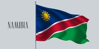 Namibia waving flag on flagpole vector illustration. Red blue green element of Namibian wavy realistic flag as a symbol of country Royalty Free Stock Photography