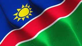 Namibia flag waving on wind. Namibian background fullscreen flag blowing on wind. Realistic fabric texture on windy day Royalty Free Stock Photo