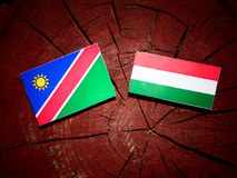 Namibian flag with Hungarian flag on a tree stump isolated. Namibian flag with Hungarian flag on a tree stump Royalty Free Stock Photos