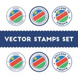 Namibian flag rubber stamps set. National flags grunge stamps. Country round badges collection Stock Photos