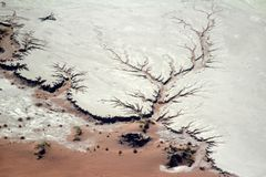 An arial photo of the dry namibian desert when not in flood stock photos