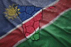 Namibian Map. Map of Namibia in National flag colors Royalty Free Stock Photo