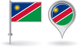 Namibian pin icon and map pointer flag. Vector Royalty Free Stock Images