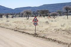 Namibian road sign Stock Photo
