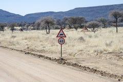 Namibian road sign Stock Photo