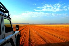 Namibian Safari. Long road to nowwhere in the Namibian Desert stock image