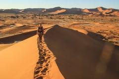 Namibische W?ste, im Nationalpark Namib-Nacluft in Namibia Sossusvlei Tourist der jungen Frau mit Rucksackst?nden auf die Obersei lizenzfreie stockbilder
