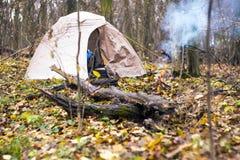 Namiot jest w jesień lesie Obraz Royalty Free