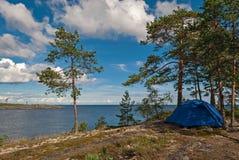Namiot jeziorem Obraz Stock