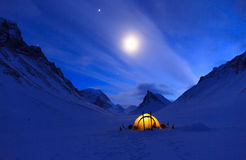 Namiot przy nocą Zdjęcia Royalty Free